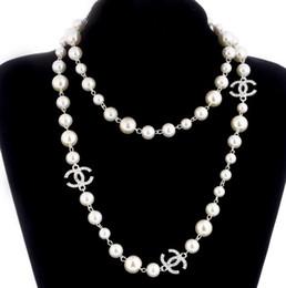 Deutschland Neue Lange Pullover Kette Kragen Maxi Halskette Simulierte Perle Blumen Halskette Frauen Modeschmuck Bijoux Femme Weihnachtsgeschenke Versorgung