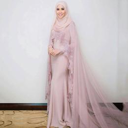sciarpa rosa navy Sconti Abiti da sera musulmani rosa 2018 Sirena maniche lunghe appliques sciarpa di pizzo islamico Dubai caftano saudita abito da sera lungo arabo-i