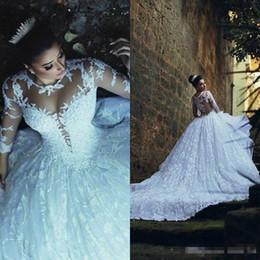 Kaiserliche kleider online-2019 moderne arabische Dubai Hochzeitskleid Luxus Lace Sheer Ausschnitt halbe Länge Ärmel Drop Taille hohe Qulity Imperial Brautkleid