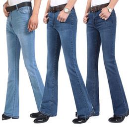 Jeans a vita svasata Jeans da uomo a zampa lunga a vita alta Nuovi jeans a vita bassa per uomo