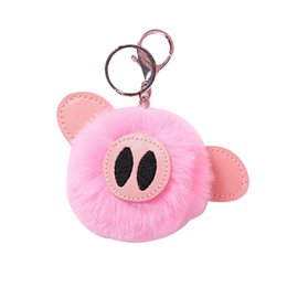 fur ball purse charms Coupons - 1pc Lovely Pig Fluffy Fur Ball Keychain Keyring Bag Purse Charm Pendant(Pink)