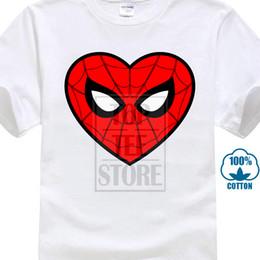 Chemise spiderman blanche en Ligne-100% Coton O Cou Personnalisé Imprimé Tshirt Hommes T Shirt Spiderman Cœur Spiderman Femmes T Shirt Noir Tee Shirt Anime Blanc