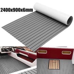 Bodenbelag online-1Roll selbstklebende 2400x900x6mm Marine Bodenbelag Faux Teak EVA-Schaum Boot Decking Sheet Zubehör Bodenmatte Dekor grauer Teppich