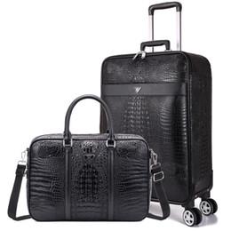 Универсальный проездной багаж онлайн-2 шт набор Чемодан, бизнес 20-дюймовый интернат коробка, универсальный случай колеса тележки, Крокодил зерна багажа, 24-дюймовый путешествия ствол