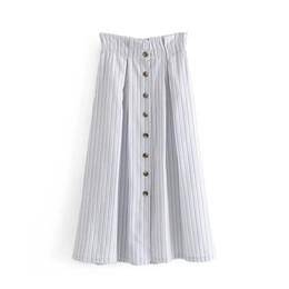 2019 полосатая миди юбка ZXQJ New Women Striped Skirts 2019 Stylish Ladies Chic High Waist Midi Skirt Button- Girls Street-wear Jupe Femme Clothing дешево полосатая миди юбка