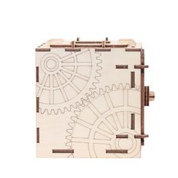 Rompecabezas Caja de almacenamiento de madera Ahorro Caja de dinero Código de diseño Mecanismo Mecanismo de bricolaje Asamblea artesanal Niños Kits de construcción de juguetes educativos Estilo 2 desde fabricantes