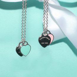 2019 diseños de collar para las mujeres 2019 Design Luxury Heart Love Necklace para Mujeres Accesorios de Acero Inoxidable Zircon green pink Heart Necklace Para Mujeres Joyería regalo rebajas diseños de collar para las mujeres
