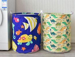 strisce di mostra all'ingrosso Sconti Dinosauro lavanderia cesto di casa cestino di immagazzinaggio ceste oceano animale pieghevole cesto della biancheria per organizzare i bambini giocattolo bin / armadio / mensole cesti