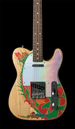 Grafische gitarre online-Seltene Künstlerserie Jimmy Page Dragon Grafikgitarre Palisander Griffbrett Eschenholz Satin Lack China Gitarren