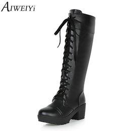 Laços de sapato redondos pretos longos on-line-AIWEIYi Lace Up Martin Botas para As Mulheres dedo do pé Redondo Salto Quadrado de Salto Alto Botas Cosplay Outono Inverno Sapatos Longos Preto