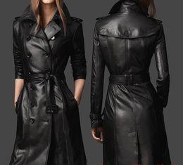 chaqueta de cuero mujer s morado Rebajas chaqueta de invierno de piel de oveja de cuero real de las mujeres outwear 2019 para mujer chaqueta de la capa de foso larga doble de pecho de la túnica capa de las mujeres capa de cuero