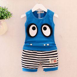 Korean roupas de bebê marcas on-line-Roupas de bebê menino coreano marca recém-nascido roupas infantis olhos grandes mangas colete + calções 2 pcs trajes crianças bebes jogging ternos