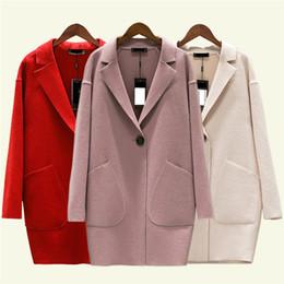 abrigo de lana rosa con volantes Rebajas Mujeres lana capa del otoño nuevo Cashmere gran tamaño resorte chaqueta delgada Mediun cachemira color femenino largo sólido prendas de vestir exteriores DT0170