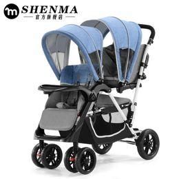 Cochecito inflable online-Cochecito de viaje plegable Bebés esenciales Gemelos Cochecitos Coches para dos bebés Trolley para niños China Cochecito inflable