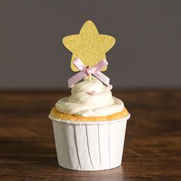 decorazioni personalizzate di cupcake Sconti Scelte personalizzato Bow Oro / Argento Glitter Star Cupcake Toppers per accessori Acquazzone della neonata / I bambini party torta di compleanno Decorazioni