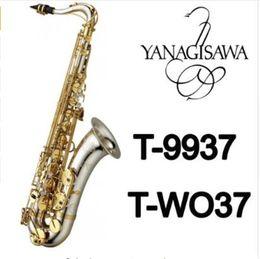 Saxofon de tubo online-Instrumentos musicales yanagisawa T-WO37 Saxofón tenor Bb Tono Níquel Plateado Tubo de oro Llave Saxofón con estuche Boquilla Guantes