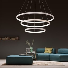 polia luzes pendentes cozinha Desconto 40CM 60CM 80CM pingente luzes modernos para sala de estar Sala de jantar Anéis Círculo Acrílico Corpo de alumínio LED teto lâmpada Fixture