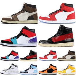 Pvc sneakers online-1 High OG Travis Scotts Basketballschuhe Spiderman UNC 1s Top 3 Herren Homage To Home Königsblau Herren Sport Designer Sneakers Trainer