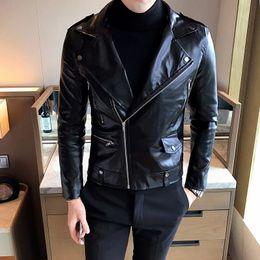 мужские спортивные кожаные куртки Скидка 019 мужская куртка весна и осень зима горячая мода сплошной цвет спорт случайный тонкий мотоцикл моделирование мужская кожаная куртка