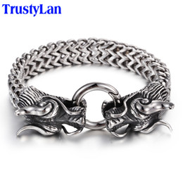 coolest mens bracelets Coupons - Trustylan Vintage Stainless Steel Men Bracelet Cool Double Dragon Head Male Jewelry Accessory Cool Mens Bangle Wristband 225mm Y19051002