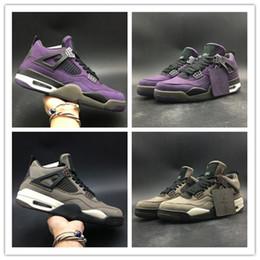 Nova Travis Sapatos 4s Scotti Homens Tênis De Basquete 4 Roxo Marrom Sapatos de Grife Botas Ao Ar Livre Tênis de Alta Qualidade de Fornecedores de tecido de veludo preto barato