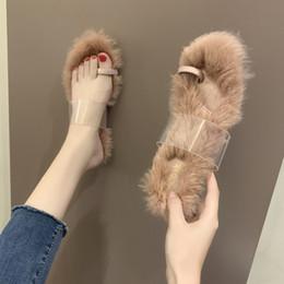 Chaussures Pour Filles De Femmes Des Pantoufles 2019 En Peluche Socofy Dames Flip Flops Talon Transparent Diapositives De Mode Lady New Fourrure Plat ? partir de fabricateur
