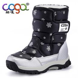 Morado pisos para chicas online-Niños Niñas Botas de invierno Estampado de nieve Cálido Botas cortas Zapatos casuales para niños Botte Enfant FIlle Negro Púrpura Rosa Niños Pisos 26-38