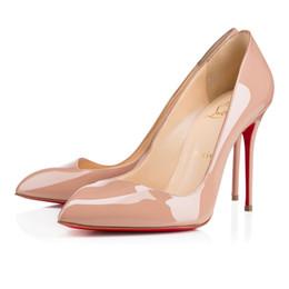 Deutschland 10CM Qualität Hot Christian Bevel-Art für Frauen Schuhe CL rote untere Partei-Schuhe Louboutin Spitz Absatz-Frauen-Schwarz Versorgung