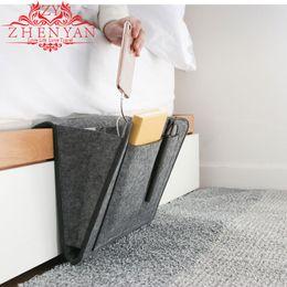 tasche tablet-tasche Rabatt Mode Grau Filz Aufbewahrungstasche für Nachttisch Bett Sofa Neue Schlafzimmer Tablet Speicherorganisator Tasche Organisieren Magazin Handy