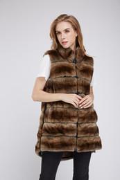 Canada dame femmes réel rex fourrure de lapin brun chinchilla couleur gilet long gilet outwear duveteux velu hiver chaud Offre