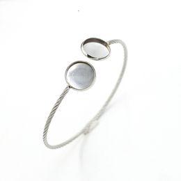 Paramètres de blocs en Ligne-Réglable en acier inoxydable bricolage Bracelet manchette Bracelet Bracelet Bracelet Blank Fit Fit 12mm Cabochon En Verre
