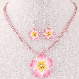 бриллиант большое ожерелье ювелирные изделия комплект Скидка Fashion Hawaii Plumeria Flowers Jewelry Sets Bohemia Polymer Clay Earrings Pendant Necklace Jewelry Sets for Women
