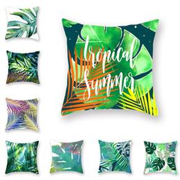 cojín de hoja verde Rebajas Patrón de poliéster de doble cara Nordic Wind Jungle Tropical Green Plant Hug Funda de almohada Conifer Palm Leaf Home Cojín Cover