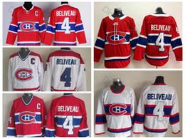 Jeans de costura blanca online-Jerseys de hockey de Montreal Canadiens de Montreal de calidad superior # 4 Jean Beliveau 1946 Vintage blanco para hombre 4 Jean Beliveau Hockey cosido C parche