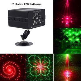 Control remoto de luz dj online-120 Patrón Láser Proyector Remoto / Control de sonido LED Disco Light RGB DJ Party Stage Light Light Boda Decoración de lámpara de Navidad
