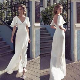2019 jenny packham vestidos de noiva backless 2019 V Neck Bainha Vestidos De Noiva Front Split Backless Vestido De Noiva Até O Chão Vestidos De Casamento Personalizado