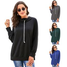 Plain-pullover online-Frauen Solide Hoodies Tops Langarm Kordelzug Mit Kapuze Sweatshirt outwear mantel Herbst Winter plain hoodie LJJA3062