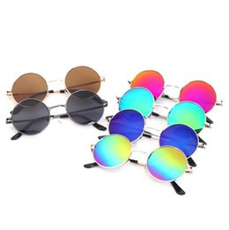 Kinderbrille rahmenobjektiv online-Kinder Retro Sonnenbrille Art- und Weiserunde Rahmen-Sonnenbrille-Kind-Weinlese-Art-bunte Objektiv-im Freiensonnenbrille-große Jungen-Mädchen geben DHL B11 frei