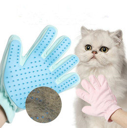 katze hand pinsel Rabatt Pet Grooming Glove Katzenhaarentfernung Mitts De-Shedding Bürstenkämme Für Katze Hund Pferd Massage Kämme Wildleder Zurück Heimtierbedarf Rechte Hand