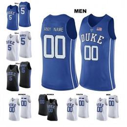 personalizado moore Desconto Custom Duke Blue Devils Basquete 2020 Qualquer Nome Número Preto Branco Real 3 Tre Jones Carey Moore Stanley Hurt Homens Juventude Criança Jerseys