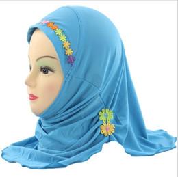 Мусульманские дети девочки цветок платок сетка тюрбан платок мягкая обернуть шали многоцветный весна осень зима лето мягкое дыхание от