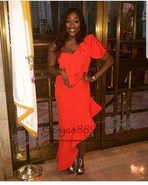 robe de soirée asymétrique à une épaule Promotion Chic split robes de bal asymétrique sirène africaine une épaule longueur du sol nigérian pas cher longue célébrité soirée robes