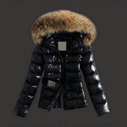 Koreanische lederjacken online-Frauen HEISS! Winter Waschbären Pelzkragen koreanische Art und Weise dünne Daunenjacke Baumwolle kurzer Absatz Leder Frau Jacke