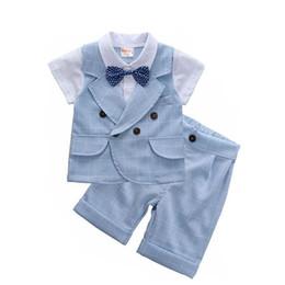 77847b1ef Ropa de niños bebés Verano para niños Viento británico Vestido de cumpleaños  Traje de caballero para niños Ropa para niños Blazer azul pantalones trajes  ...