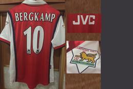 jerseys de epl Rebajas 1998 1999 Jersey Retro Clásico Bergkamp Overmars Camisas Anelka Vieira Vintage Impresión Lextra Con 9798 Campeones EPL SoccJersey