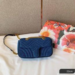 Bolsos de hombro de mezclilla de diseño online-Bolsos de diseño para mujer cadena de hombro monedero material de mezclilla bolsos de diseño estilo perla cruz cuerpo bolso de lujo bolso