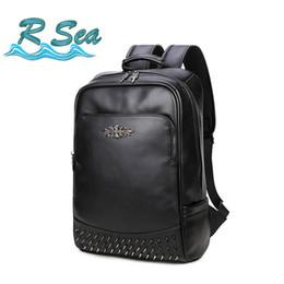 bcdebff5c2245 Pu Rucksack mehrschichtige Niet Laptop koreanische Version Schulter Rucksack  Herren Tasche Student Fashion Black Travel auf verkauf