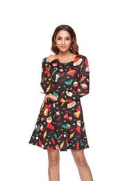High Quality 2019 Spring European Station New Designer Women A-line Long-Sleeve  Dress Christmas Print Black Mini Skirt Ladies Gown Dresses 3239ab8f6