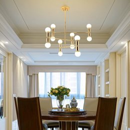 Люстры для гостиной онлайн-Прямоугольный кулон люстра Гостиная Кухня Спальня гостиная освещения E27 декора Pipe золотой люстра лампа Светильники