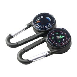 3 in 1 Mini-Kompass + Thermometer + Karabinerhaken Multifunktionale Wandern Metall Karabiner Kompass kleines Werkzeug Hochwertige von Fabrikanten